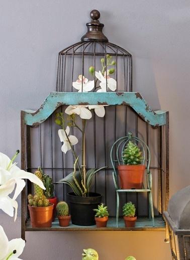 Warm Design Kuş Kafesi Duvar Rafı Renkli